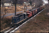 GP9 #6484 passing westbound through Lyttonsville, (Apr 1972)