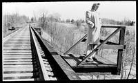 Bobby Stevens' wife on the Rock Creek Trestle, Mar 1942